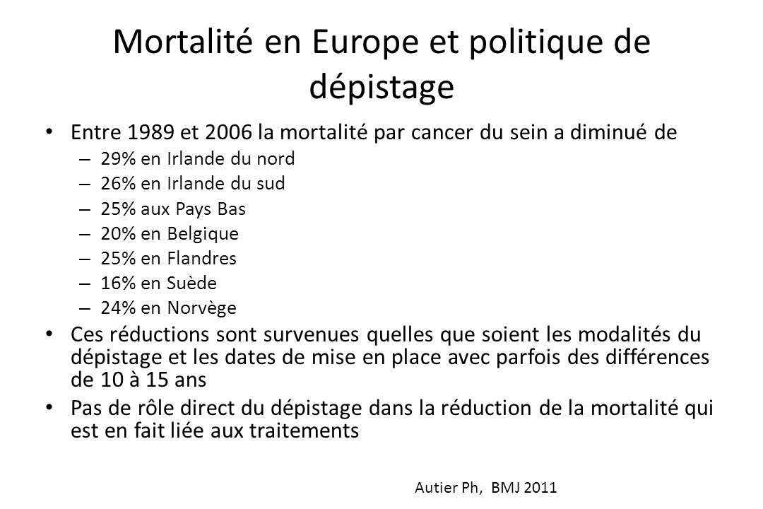 Mortalité en Europe et politique de dépistage