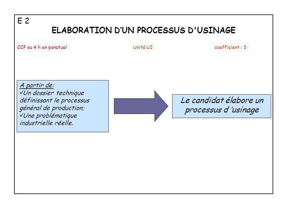 ELABORATION D'UN PROCESSUS D USINAGE