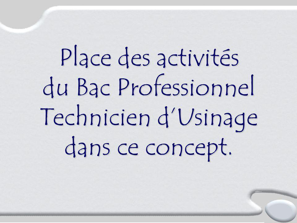Place des activités du Bac Professionnel Technicien d'Usinage dans ce concept.