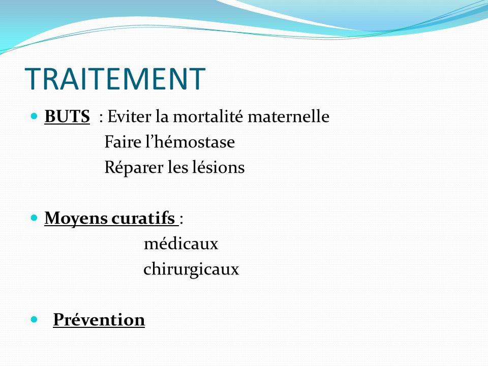 TRAITEMENT BUTS : Eviter la mortalité maternelle Faire l'hémostase