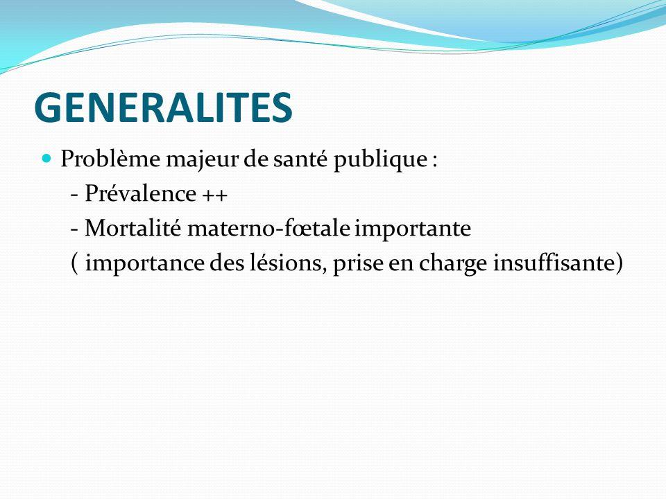 GENERALITES Problème majeur de santé publique : - Prévalence ++