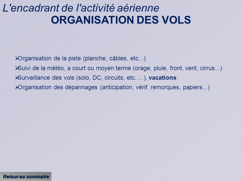 L encadrant de l activité aérienne ORGANISATION DES VOLS