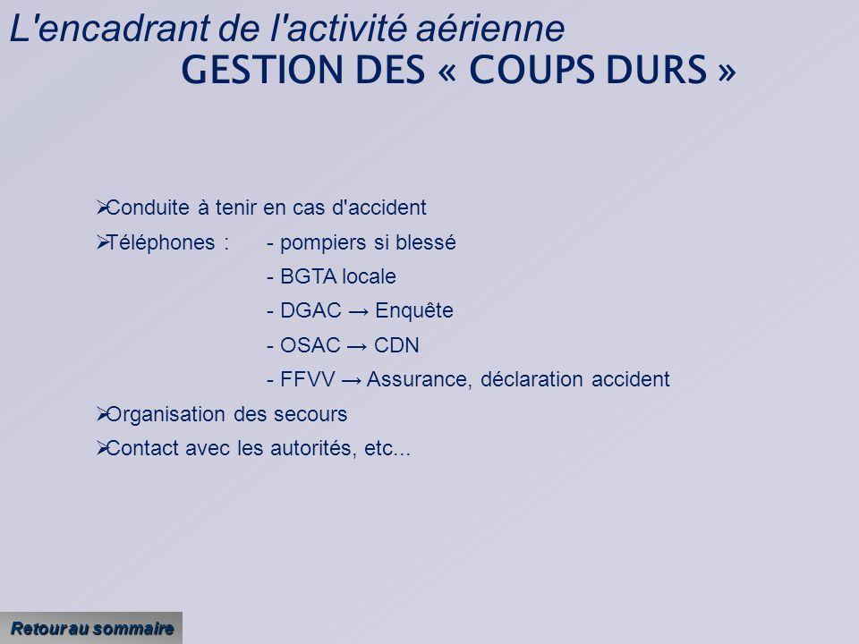 L encadrant de l activité aérienne GESTION DES « COUPS DURS »