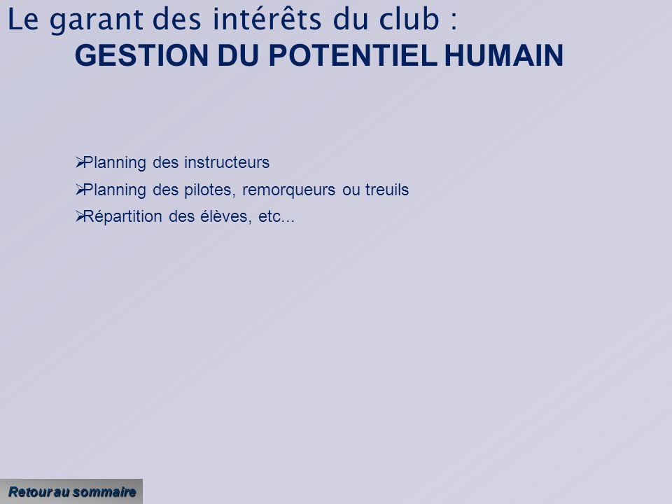 Le garant des intérêts du club : GESTION DU POTENTIEL HUMAIN