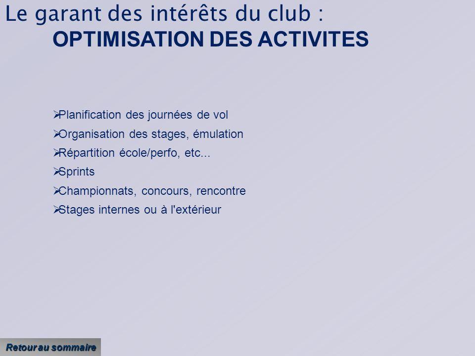 Le garant des intérêts du club : OPTIMISATION DES ACTIVITES