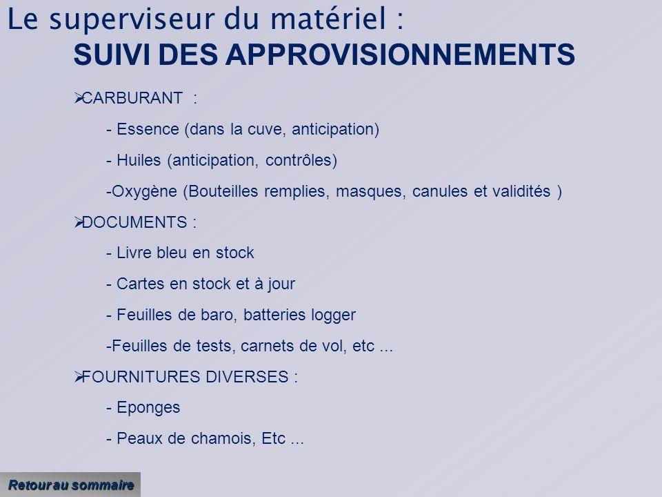 Le superviseur du matériel : SUIVI DES APPROVISIONNEMENTS