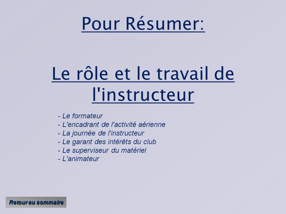 Le rôle et le travail de l instructeur