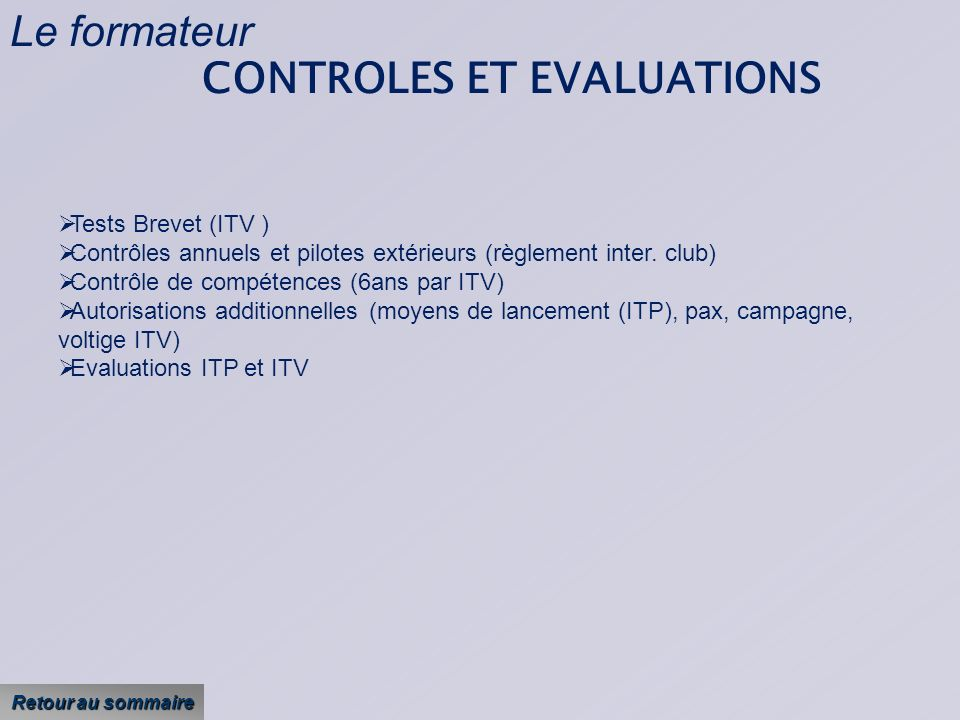 CONTROLES ET EVALUATIONS