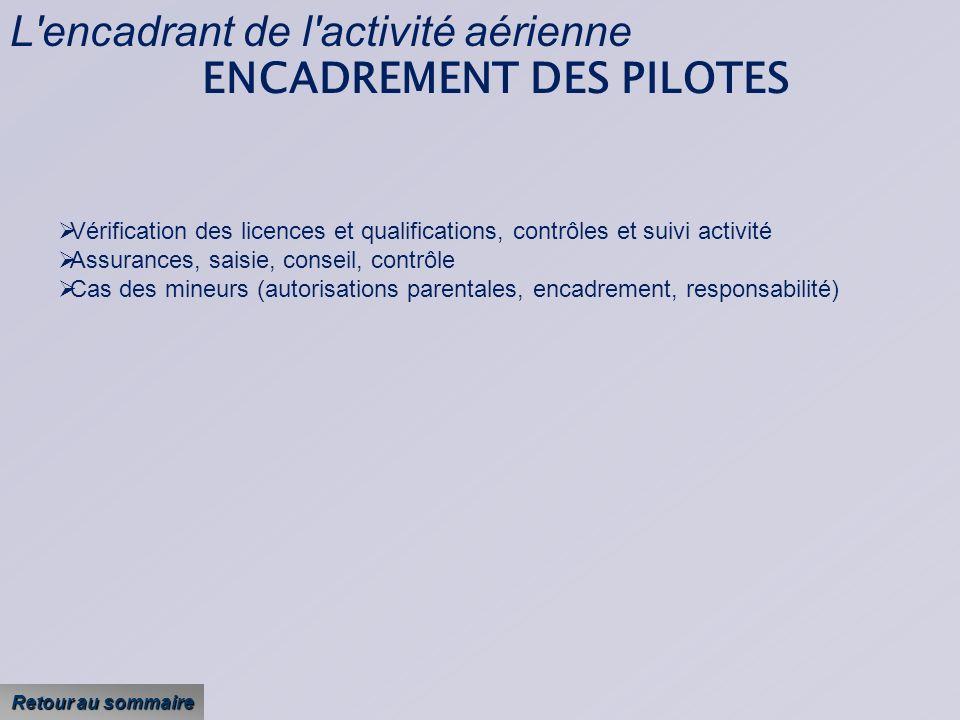 L encadrant de l activité aérienne ENCADREMENT DES PILOTES