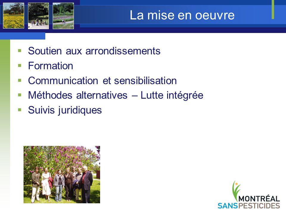 La mise en oeuvre Soutien aux arrondissements Formation