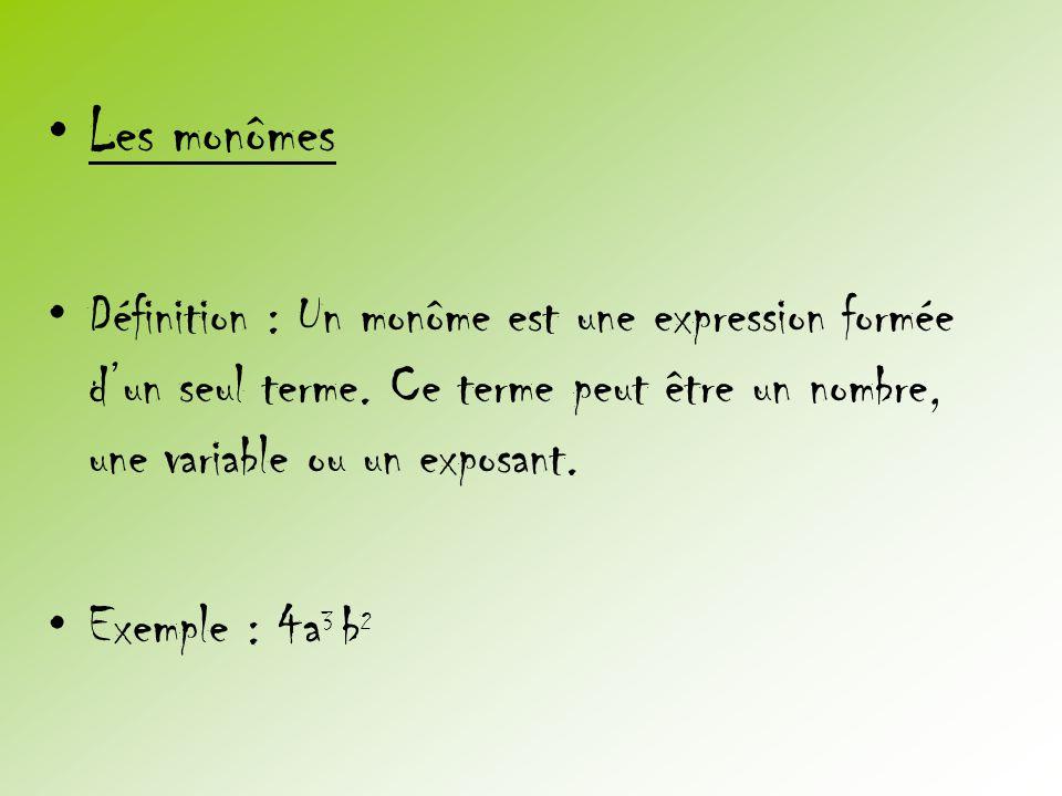 Les monômes Définition : Un monôme est une expression formée d'un seul terme. Ce terme peut être un nombre, une variable ou un exposant.