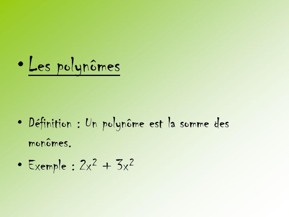 Les polynômes Définition : Un polynôme est la somme des monômes.
