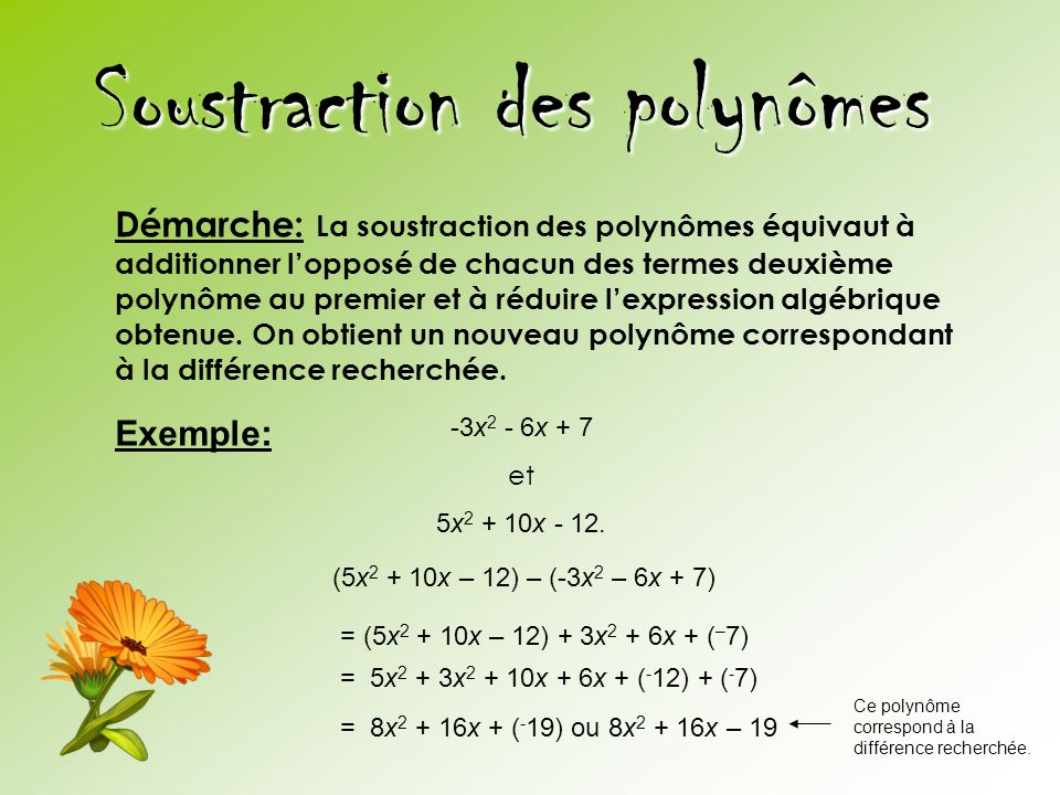 Soustraction des polynômes