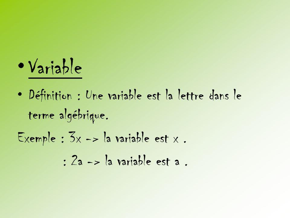 Variable Définition : Une variable est la lettre dans le terme algébrique. Exemple : 3x -> la variable est x .
