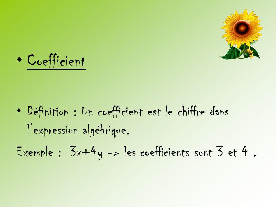 Coefficient Définition : Un coefficient est le chiffre dans l'expression algébrique.