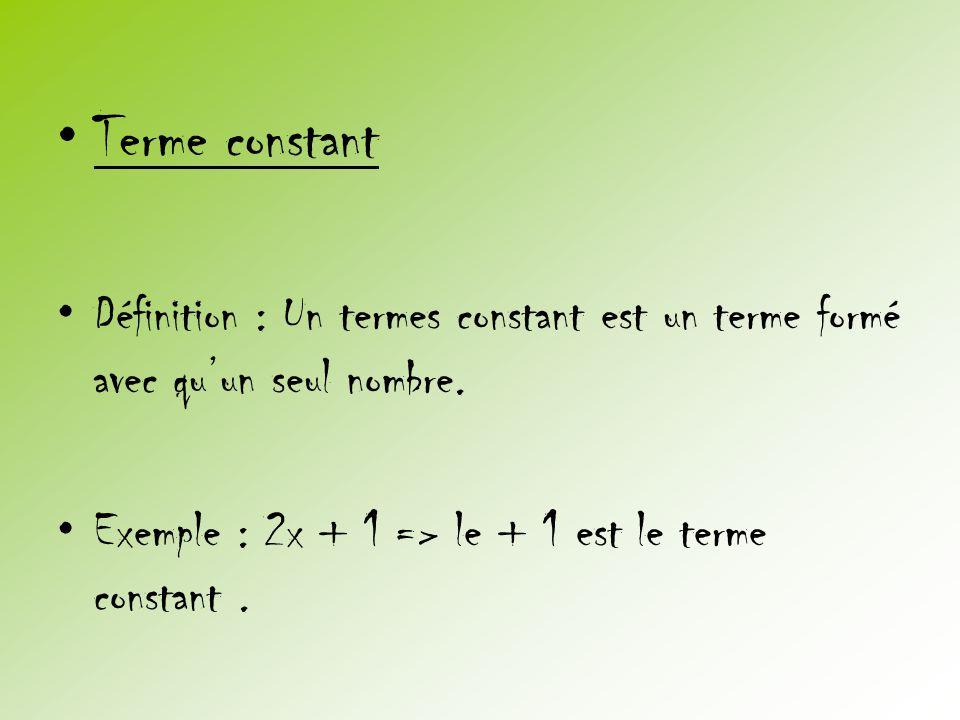 Terme constant Définition : Un termes constant est un terme formé avec qu'un seul nombre.