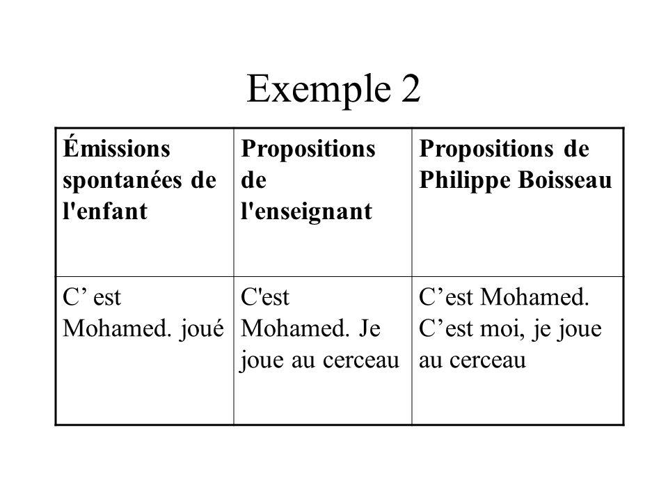 Exemple 2 Émissions spontanées de l enfant