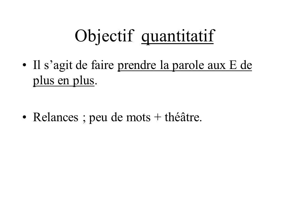 Objectif quantitatifIl s'agit de faire prendre la parole aux E de plus en plus.