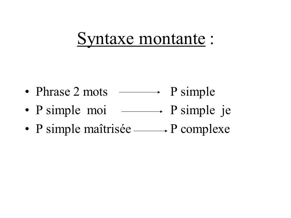 Syntaxe montante : Phrase 2 mots P simple P simple moi P simple je