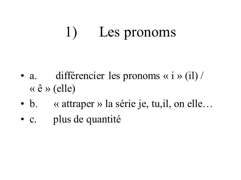 1) Les pronoms a. différencier les pronoms « i » (il) / « ê » (elle)