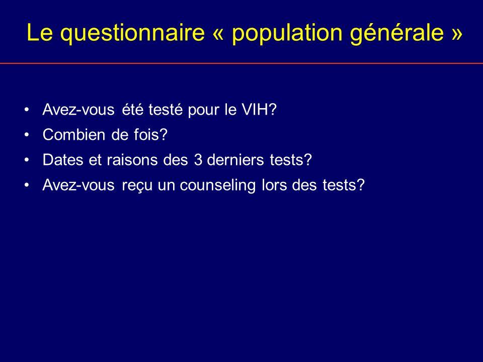 Le questionnaire « population générale »