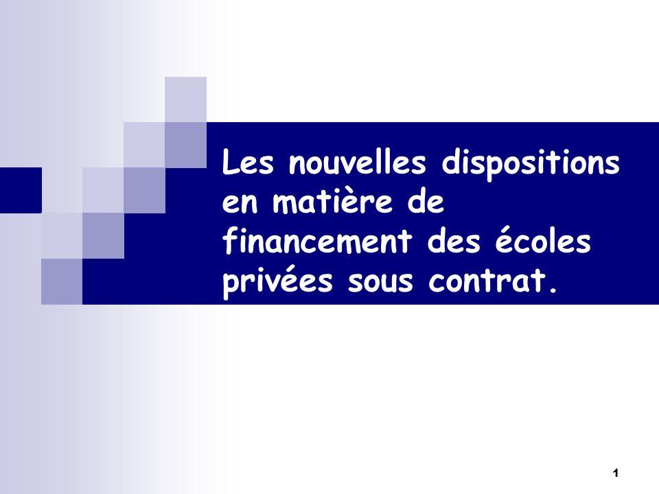 Les nouvelles dispositions en matière de financement des écoles privées sous contrat.