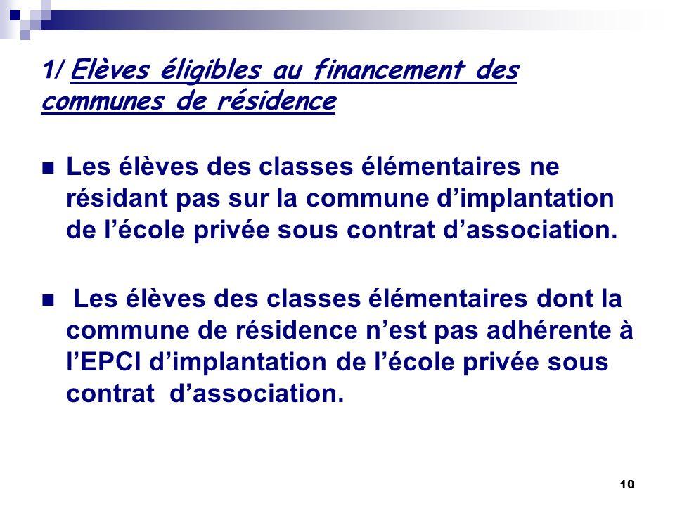 1/ Elèves éligibles au financement des communes de résidence