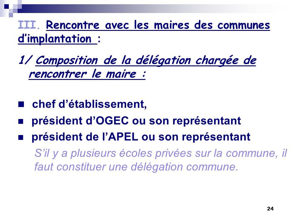 III. Rencontre avec les maires des communes d'implantation :