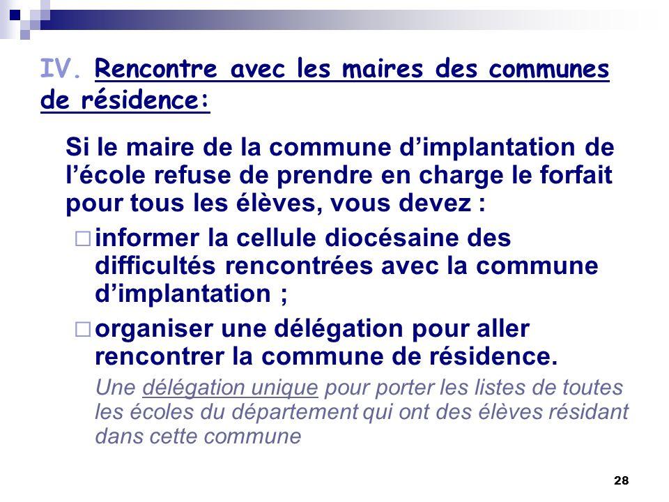 IV. Rencontre avec les maires des communes de résidence: