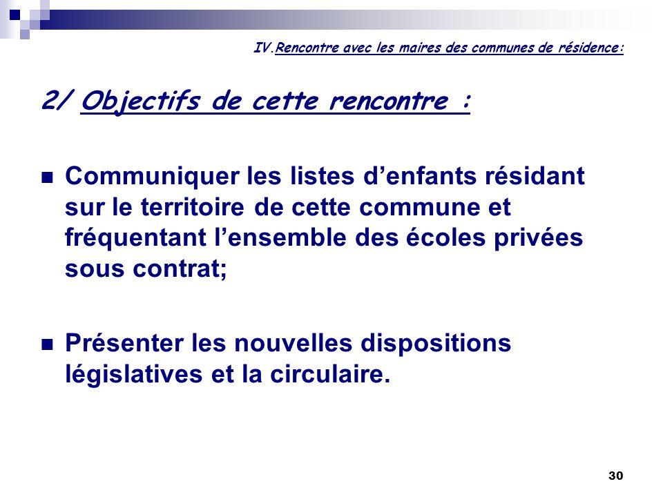 IV.Rencontre avec les maires des communes de résidence:
