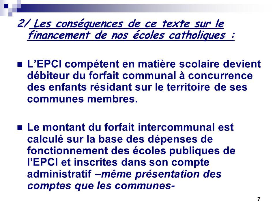 2/ Les conséquences de ce texte sur le financement de nos écoles catholiques :