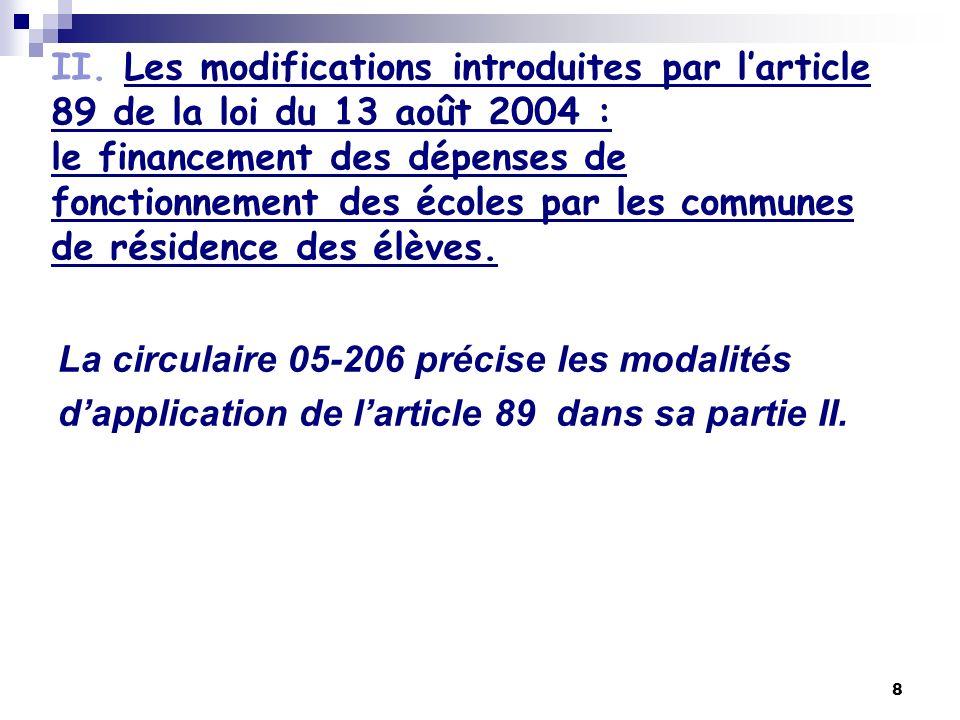 II. Les modifications introduites par l'article 89 de la loi du 13 août 2004 : le financement des dépenses de fonctionnement des écoles par les communes de résidence des élèves.