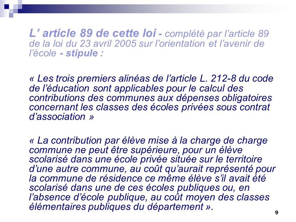 L' article 89 de cette loi - complété par l'article 89 de la loi du 23 avril 2005 sur l'orientation et l'avenir de l'école - stipule :