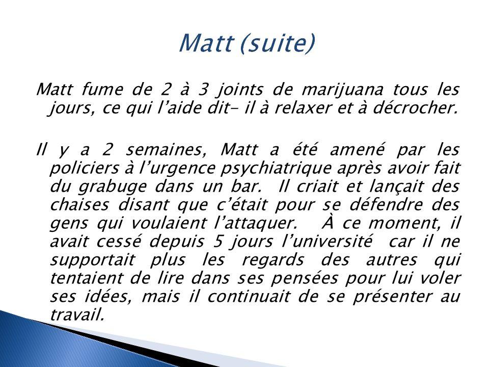 Matt (suite) Matt fume de 2 à 3 joints de marijuana tous les jours, ce qui l'aide dit- il à relaxer et à décrocher.