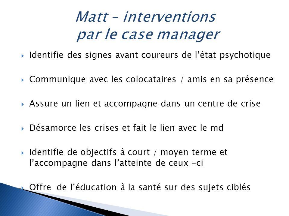 Matt – interventions par le case manager