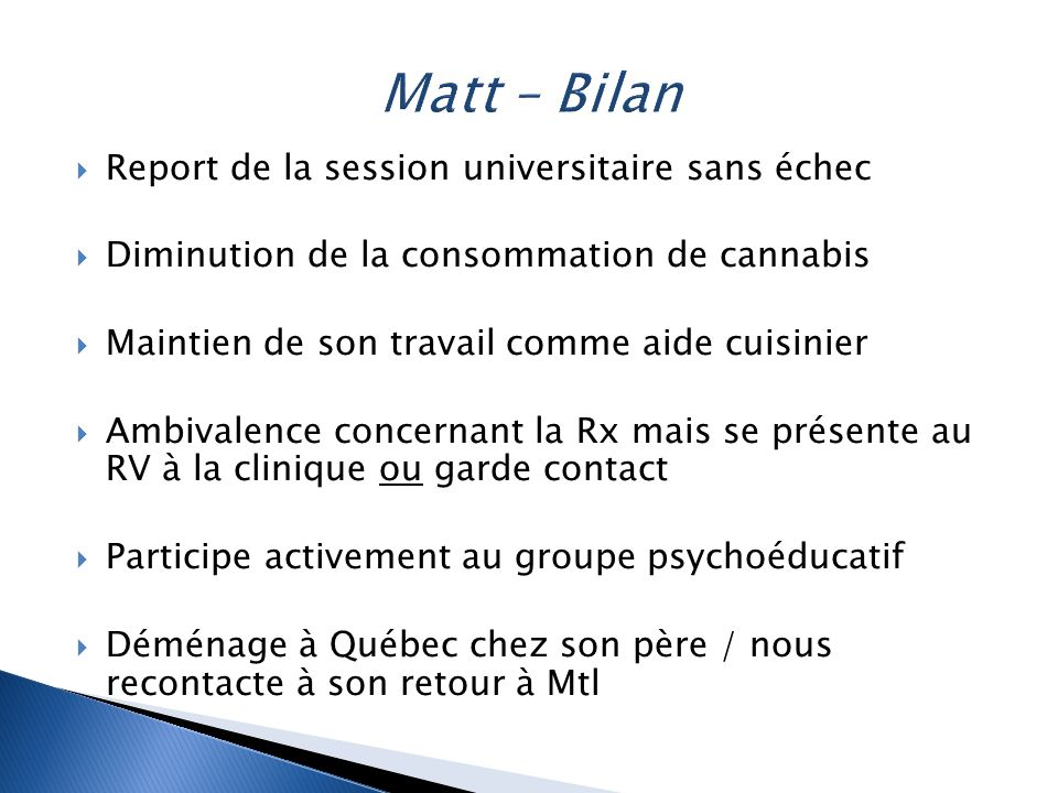 Matt – Bilan Report de la session universitaire sans échec