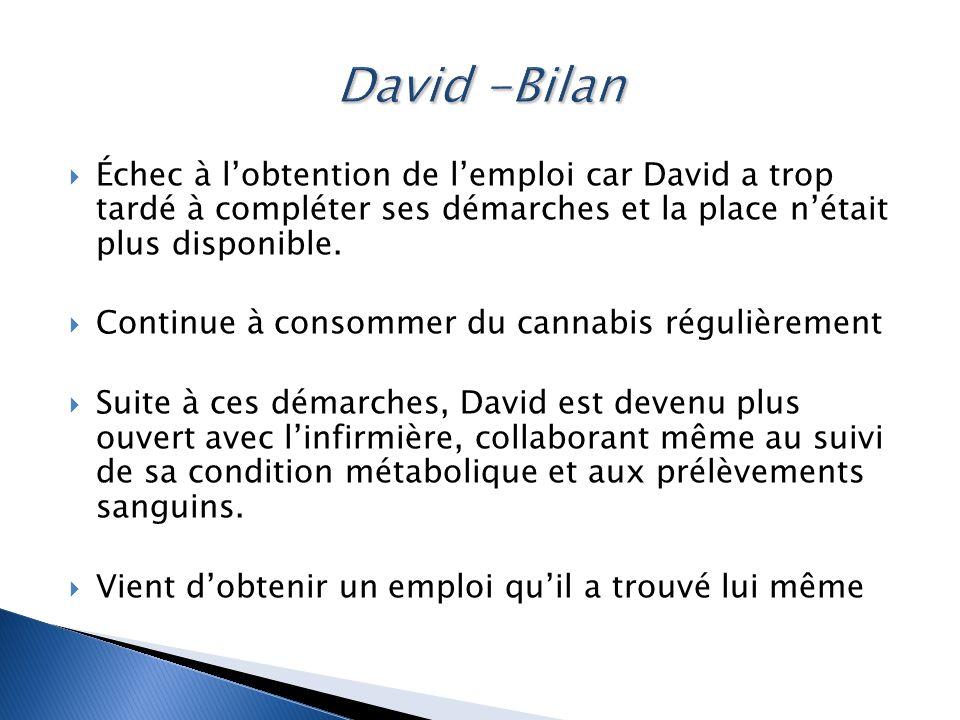 David -Bilan Échec à l'obtention de l'emploi car David a trop tardé à compléter ses démarches et la place n'était plus disponible.