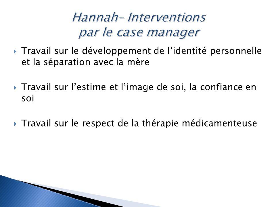 Hannah– Interventions par le case manager