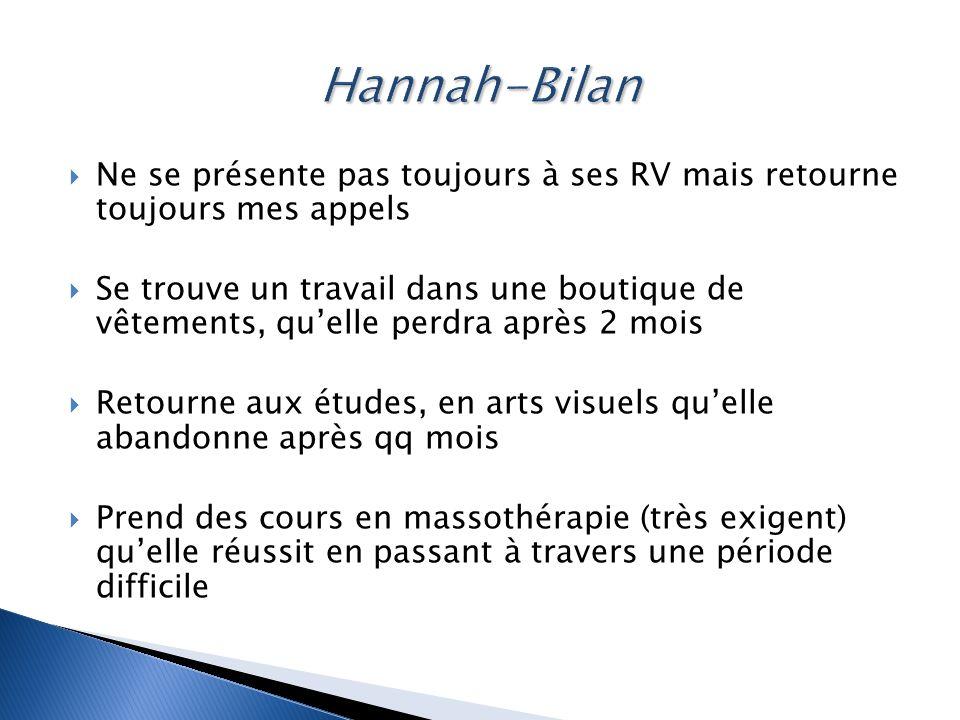 Hannah-Bilan Ne se présente pas toujours à ses RV mais retourne toujours mes appels.