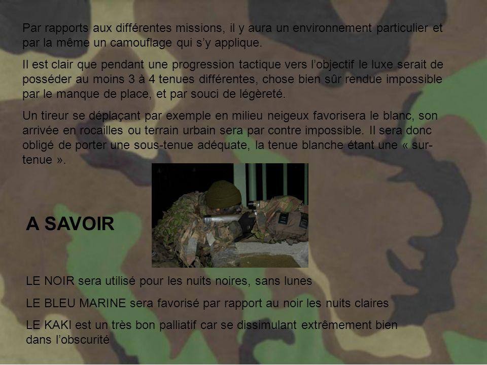 Par rapports aux différentes missions, il y aura un environnement particulier et par la même un camouflage qui s'y applique.