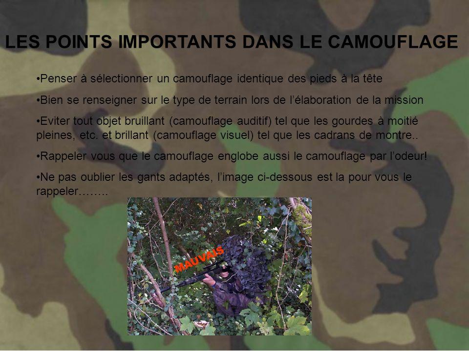 LES POINTS IMPORTANTS DANS LE CAMOUFLAGE
