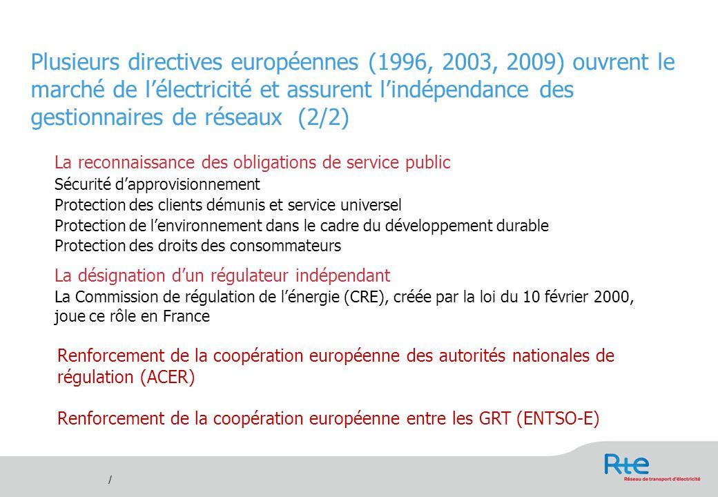 Plusieurs directives européennes (1996, 2003, 2009) ouvrent le marché de l'électricité et assurent l'indépendance des gestionnaires de réseaux (2/2)