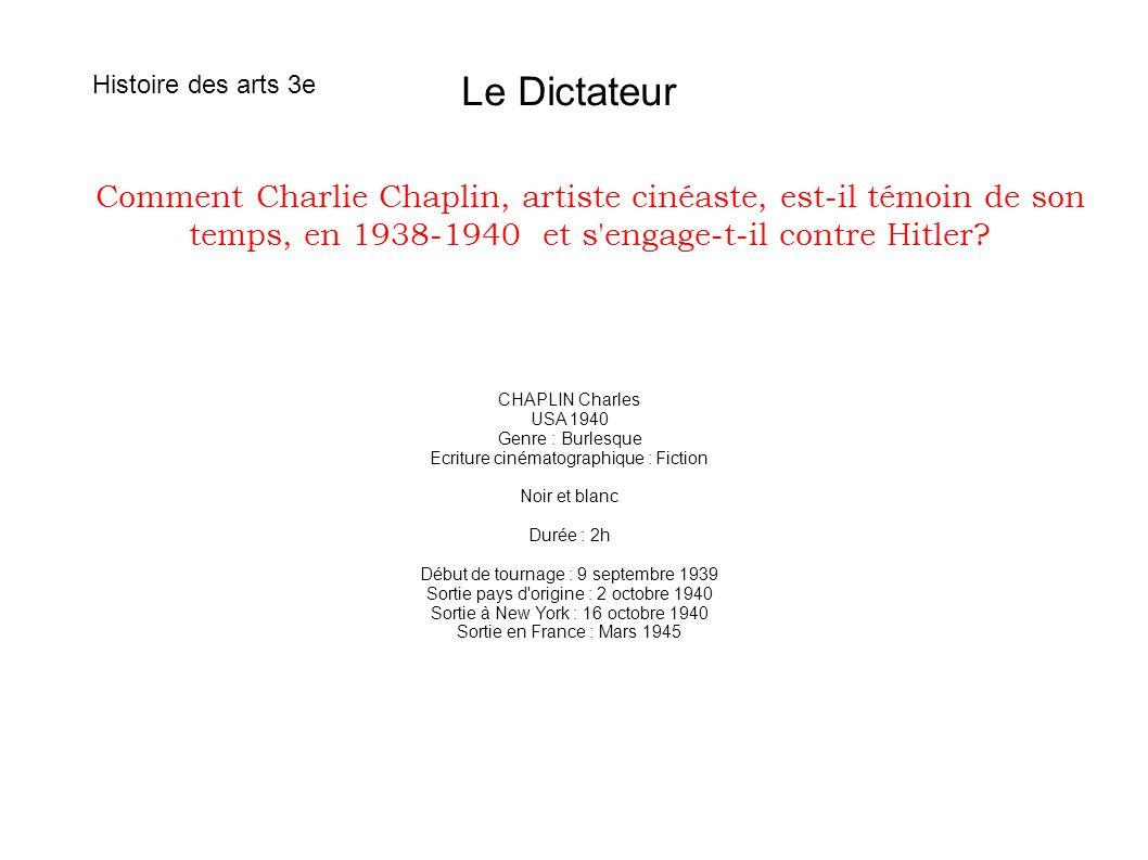 Histoire des arts 3e Le Dictateur.