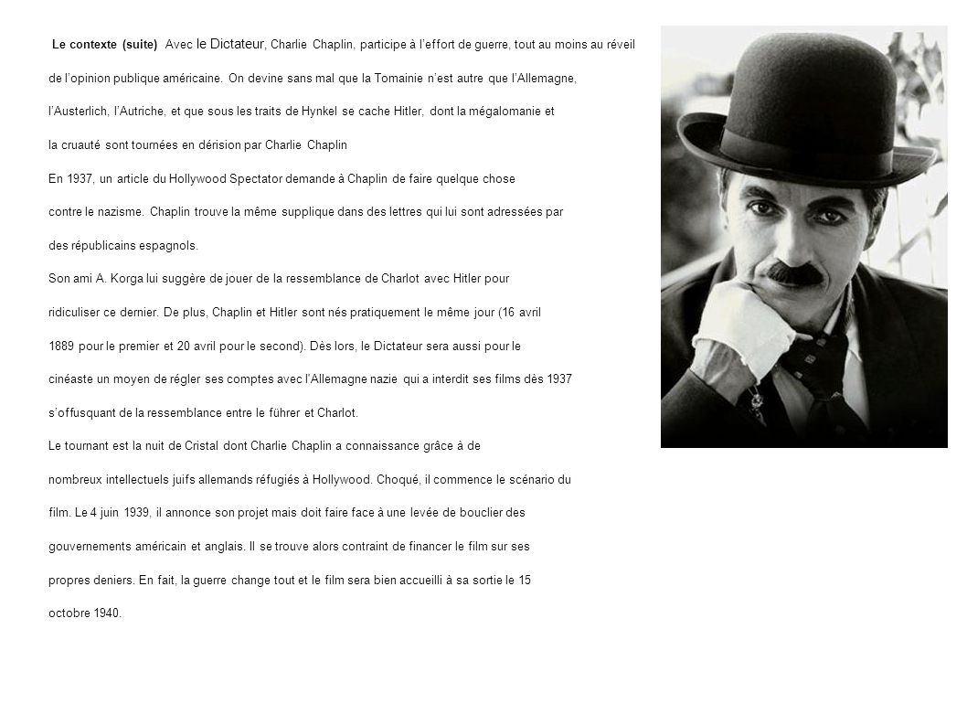 Le contexte (suite) Avec le Dictateur, Charlie Chaplin, participe à l'effort de guerre, tout au moins au réveil