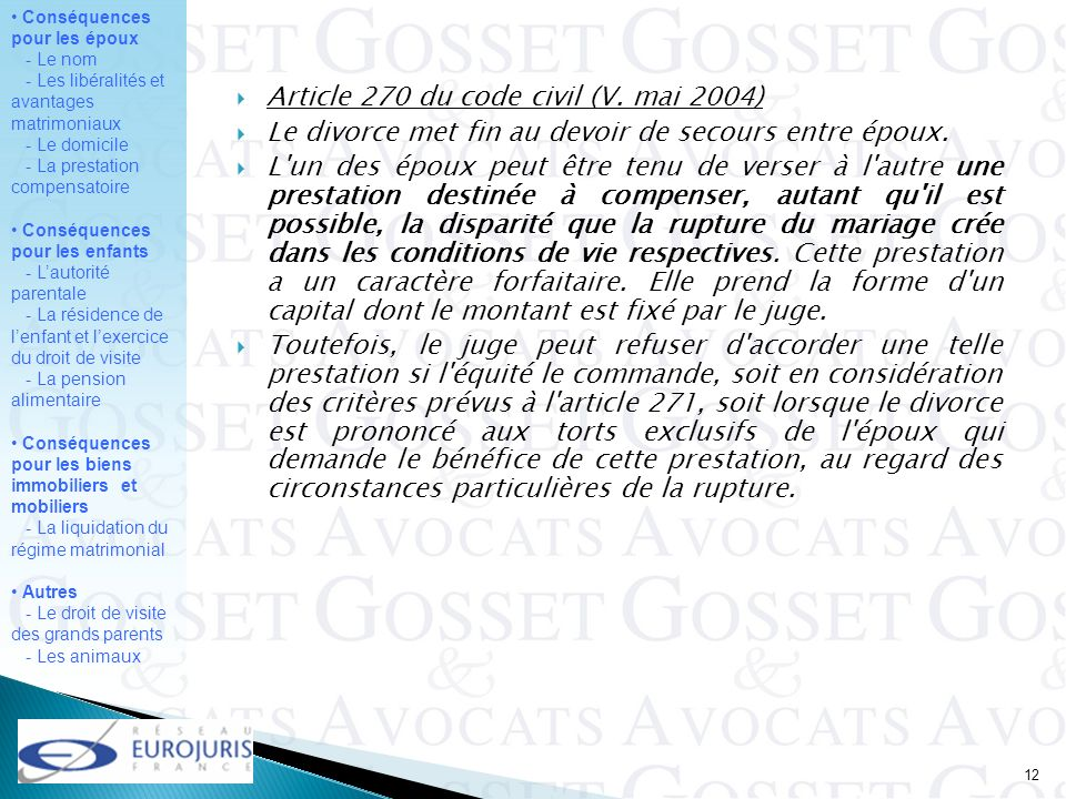 Article 270 du code civil (V. mai 2004)