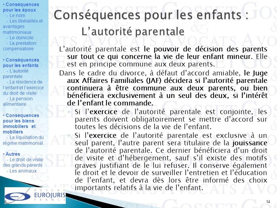 Conséquences pour les enfants : L'autorité parentale