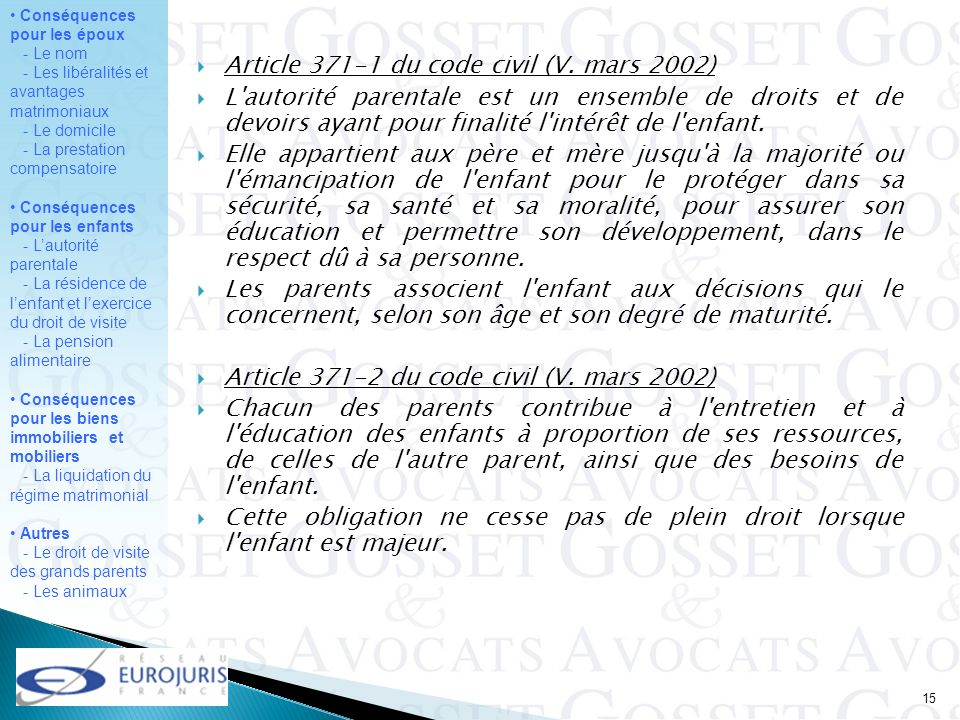 Article 371-1 du code civil (V. mars 2002)