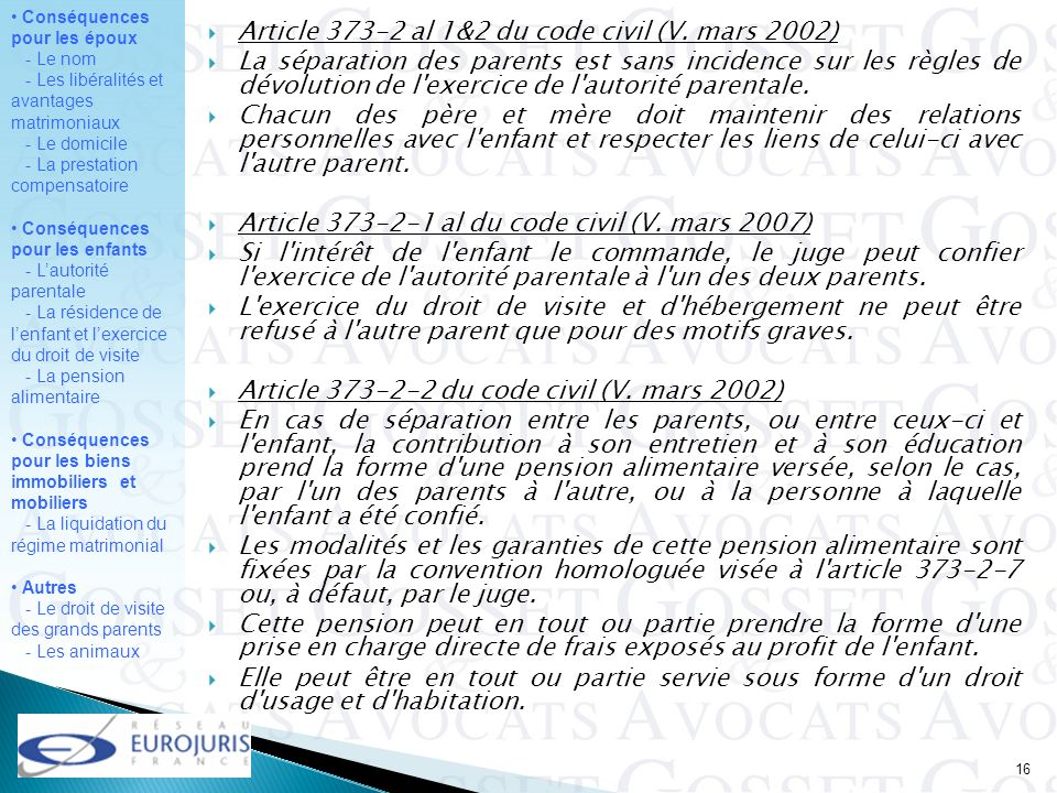 Article 373-2 al 1&2 du code civil (V. mars 2002)