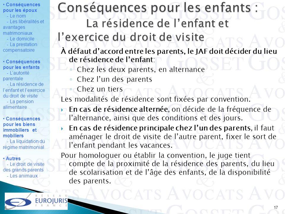 Conséquences pour les enfants :