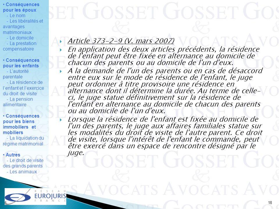 Article 373-2-9 (V. mars 2007)